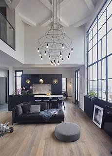 luminaire pour plafond grande hauteur cuisine ouverte sur le salon grande hauteur sous plafond volume lumineux au plein coeur de