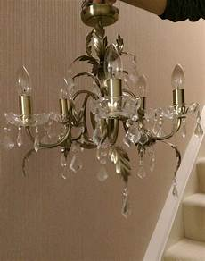 bhs 5 flush chandelier and matching wall lights in antique brass in dewsbury west yorkshire