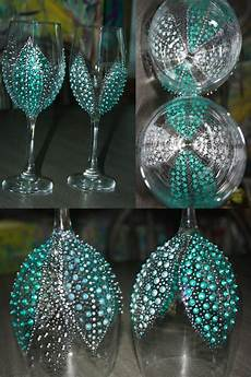 bridal shower party favors painted wine glasses breakfast at tiffanys by