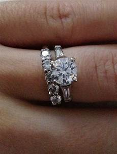 diamond with baguettes engagement ring and small