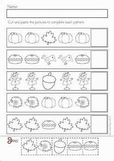 cut and paste patterns worksheets for kindergarten 309 autumn fall math no prep worksheets activities pattern worksheet preschool math