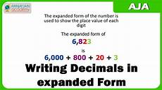 writing decimals in expanded form youtube