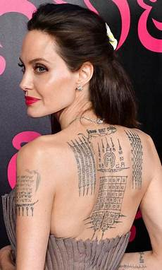 angelina jolie s tattoos what 180 s their secret meaning