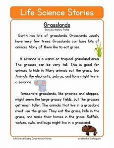 reading comprehension worksheet grasslands