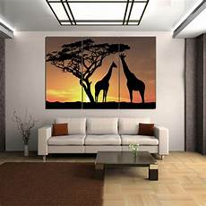 hd canvas print home decor wall art picture poster big tree giraffe framed ebay
