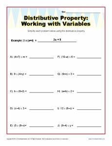 distributive property worksheets variables distributive property with variables worksheets 6th and