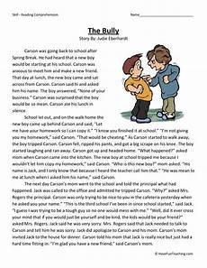 reading comprehension worksheet the bully