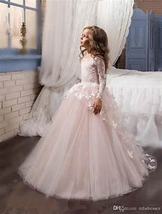 2017 new princess hot pink long sleeves ball gown flower