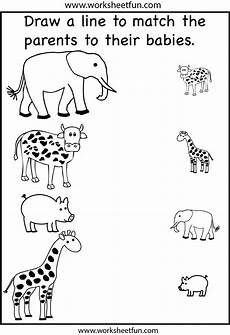 worksheets on animals for kindergarten 13988 animal parents and babies match the parents 2 worksheets free printable worksheets