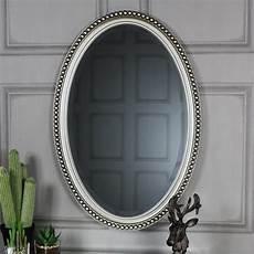 silver oval wall mirror 53cm x 79cm browne