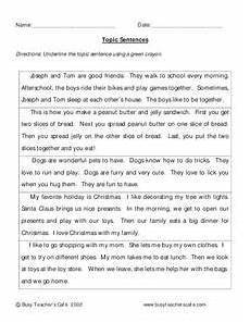 writing topic sentences worksheets 22237 topic sentences worksheet for 3rd grade lesson planet