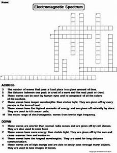 electromagnetic spectrum worksheet crossword puzzle by science spot
