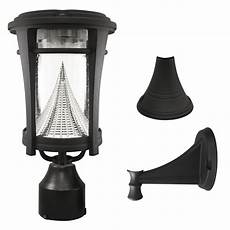 gama sonic solar outdoor led light bright white leds pole wall kit black
