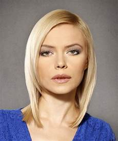 medium straight formal bob hairstyle light hair color