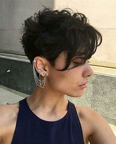 long in front pixie cut for thick wavy dark brown hair