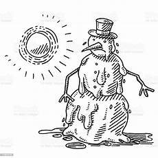 melting snowman heat of the sun drawing stock illustration