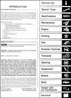 automotive service manuals 1988 honda accord auto manual 1985 honda accord repair shop manual original