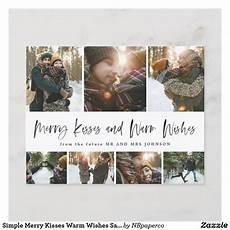 simple merry kisses warm wishes save the date grid holiday postcard zazzle com in 2019