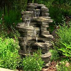 outdoor rock waterfall 39 inches tall with led lights by sunnydaze decor nexusdecor nexus