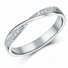 3mm 9ct white gold crossover diamond wedding ring 9ct white gold at elma uk jewellery