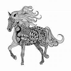 Ausmalbilder Pferde Schwer Zentangle Stilisierte Schwarzes Pferd Gezeichnetes