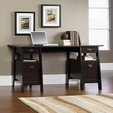 walmart home office furniture sauder stockbridge executive trestle desk jamocha wood