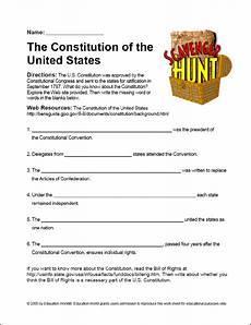 scavenger hunt quot the u s constitution quot worksheet constitution lesson constitution lesson