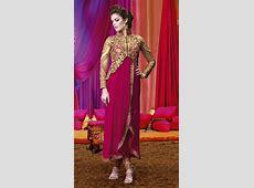 Pretty Golden Short Jacket Style Dark Pink Designer Salwar