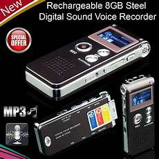 Digital Sound Voice Recorder 8gb Rechargeable Steel