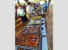 Buffet for outdoor country wedding~ chicken, ham, mashed