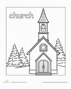 coloring pages places in town 18038 church worksheet education