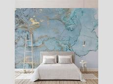Custom Photo Wallpapers 3D Stereo Blue Texture Marble Wall