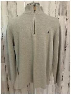 polo ralph mens xl gray cotton 1 4 zip mock neck