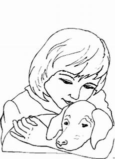 Ausmalbilder Hunde Katzen Pferde Maedchen Und Hund Ausmalbild Malvorlage Kinder