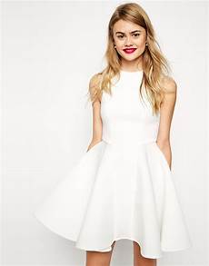 lyst asos premium bonded fit and flare dress in white