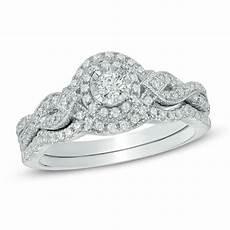 1 2 ct t w diamond frame vintage style bridal in 14k white gold bridal sets wedding