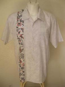 rare mens rockabilly 50s white l bowling shirt one panel bird floral usd 37 99 end