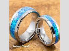 Wedding Band Set of Tungsten Rings with Opal Inlay (6mm