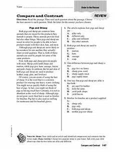 compare and contrast worksheet for 4th 5th grade lesson planet