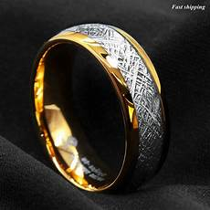8mm 18k gold dome tungsten ring fine silver inlay wedding band ring atop jewelry ebay