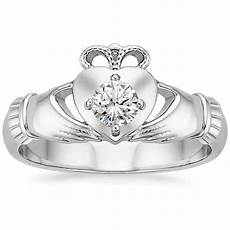 claddagh diamond ring 1 4 ct tw in 18k white gold