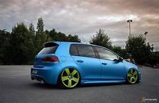 Blue Vw Golf Mk6 With Green 5 Rims Vw Golf Tuning