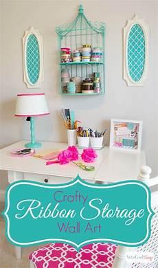 diy ribbon organizer and wall art craft room decor