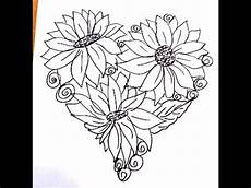 shaped coloring page flowers in a easy