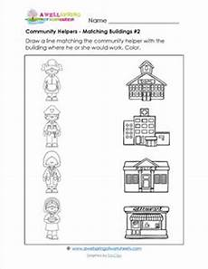 places in community worksheets 15955 community helpers matching buildings 2 a wellspring