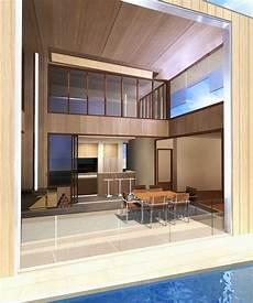 Desain Interior Ruang Makan Terbuka Dengan Atap Tinggi