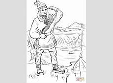 Sami Man in Lapland coloring page   Free Printable