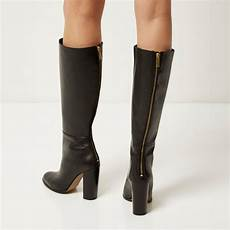 lyst river island black leather knee high heeled boots