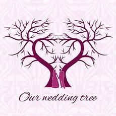 Malvorlage Baum Hochzeit Hochzeit Baum Herz Mit Silhouetten Der Liebenden In Warmen