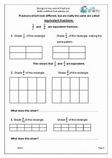 recognise equivalent fractions fractions and decimals maths worksheets for year 4 age 8 9